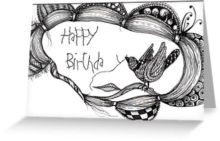 Birthday bird card  by Jenny Wood