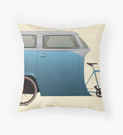 Camper Bike Throw Pillow