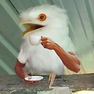 Surprised albino Frogmouth drinking coffee by Felfriast