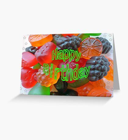 Gummy Fruit Happy Birthday Greeting Card