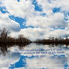 Cloud reflection with scripture by Penny Fawver