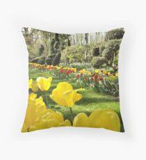 April Tulip Gardens Throw Pillow