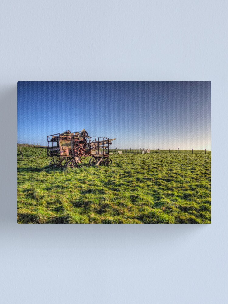 Alternate view of decaying farm machinery on Alderney Canvas Print