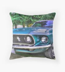 1969 Mustang in HDR Throw Pillow