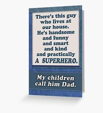 Happy Father's Day, Superhero Dad, from wife / mom Greeting Card