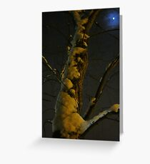 Blue Moon And Golden Snow Greeting Card