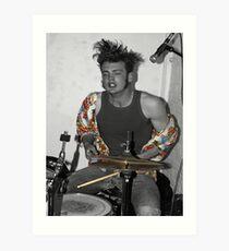 Drummer rock star Art Print