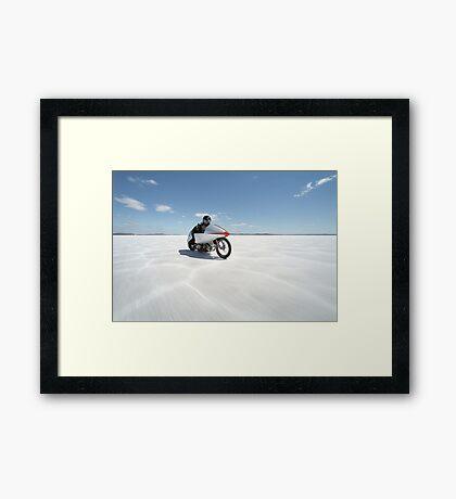 Suzuki Gt 750 at full throttle on the salt Framed Print