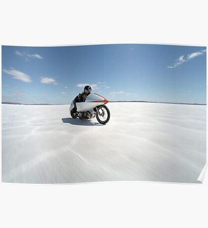Suzuki Gt 750 at full throttle on the salt Poster