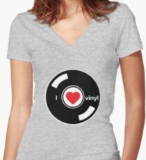 I Love Vinyl Women's Fitted V-Neck T-Shirt