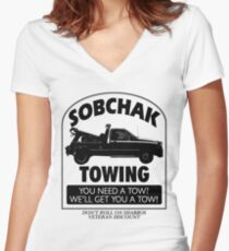 The Big Lebowski Inspired - Sobchak Towing - You Want a Toe? Women's Fitted V-Neck T-Shirt