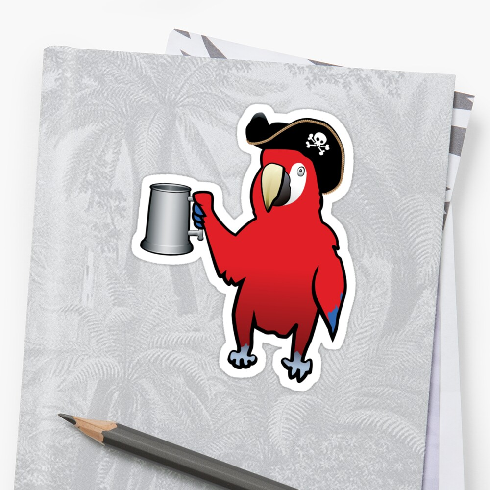 Red Pirate Parrot with a tankard by divebargraphics