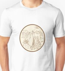 Olive Oil Jar Cheese Tuscan Countryside Etching Unisex T-Shirt