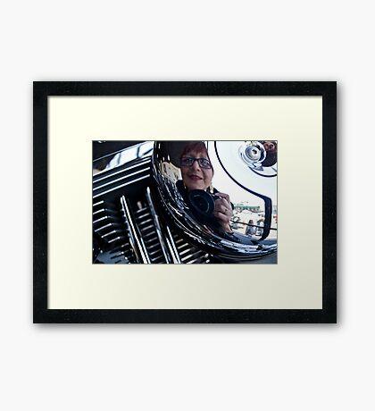 Reflections on a Harley Davidson Framed Print