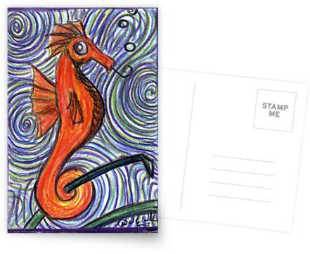 Seahorse and Swirls by David Webb