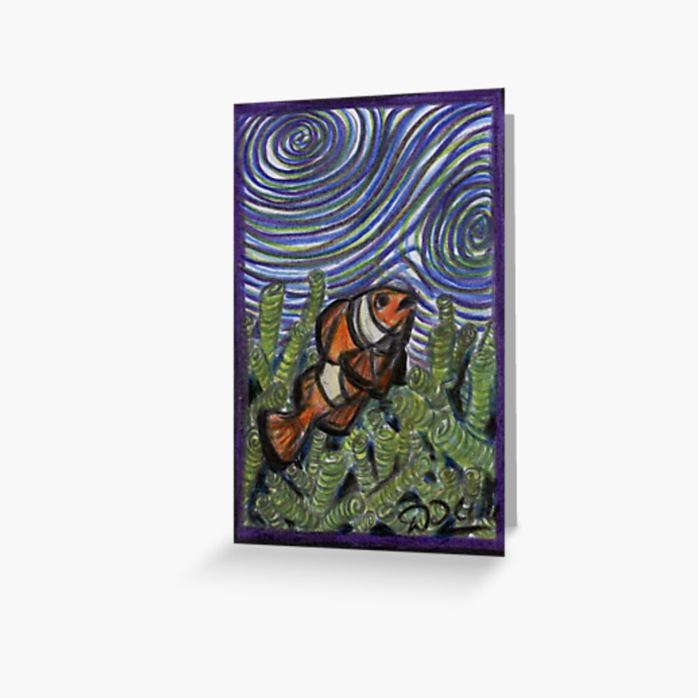 Clownfish and Swirls Greeting Card