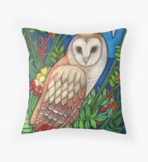White Heart (Portrait of a Barn Owl) Throw Pillow
