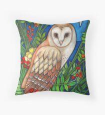 White Heart (Portrait of a Barn Owl) Throw Pillow