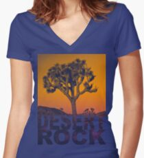 Desert rock Women's Fitted V-Neck T-Shirt