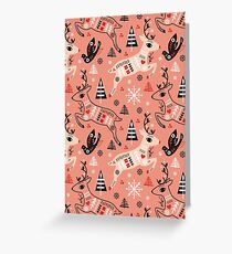 Holiday Folk in Pink Peppermint  Greeting Card