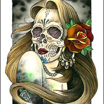 Skull Lady by asplashofcolor