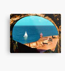 Sailboat at Morro Castle Metal Print
