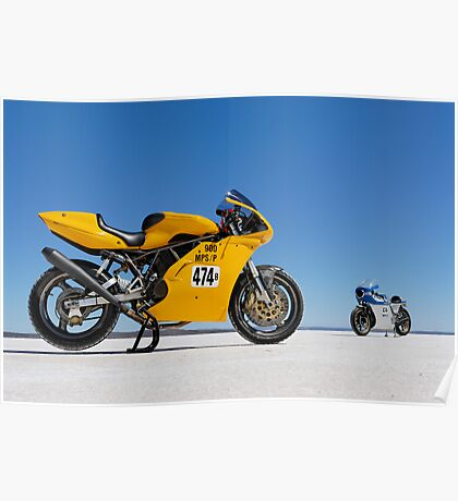 Ducati Supersport 900 and Ducati SS 900 on the salt Poster