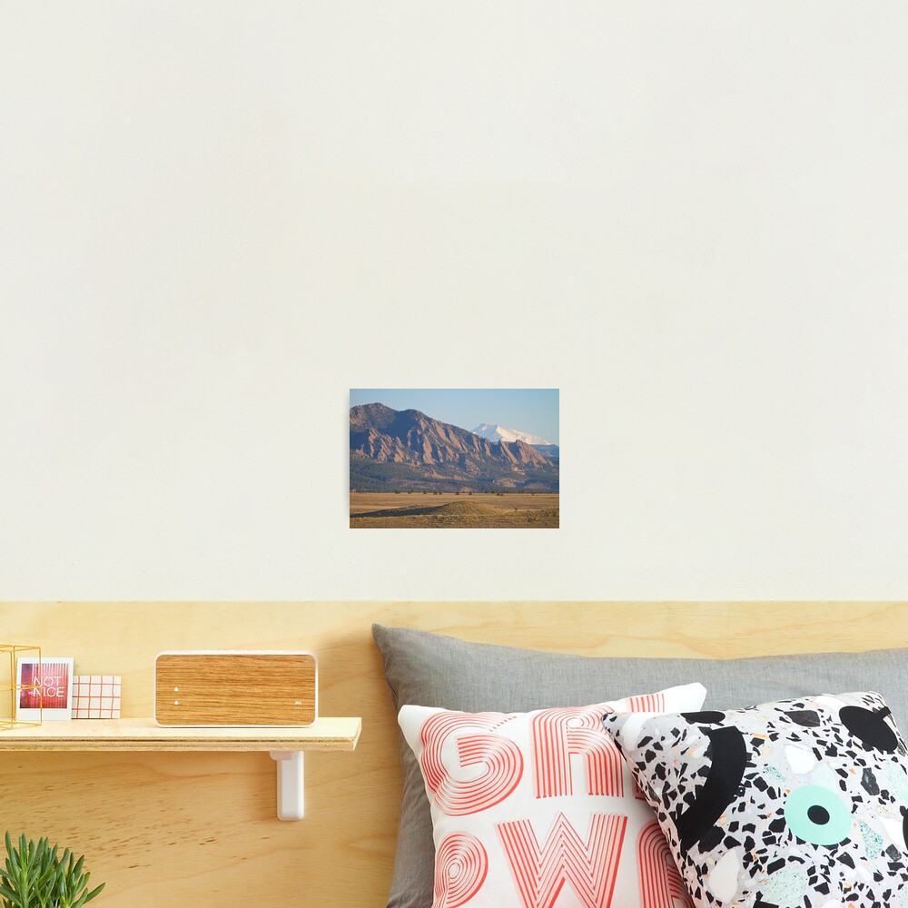 Colorado Rocky Mountains Flatirons With Snow Covered Twin Peaks Photographic Print