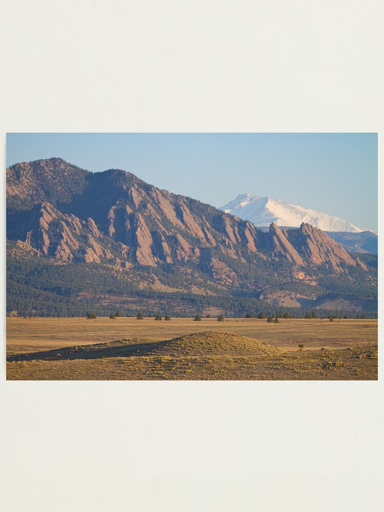 Alternate view of  Colorado Rocky Mountains Flatirons With Snow Covered Twin Peaks Photographic Print