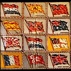 Vintage International Flags In Shadow Box by Laurie Minor
