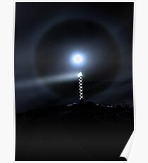 Moon Halo Over Bunbury lighthouse  Poster