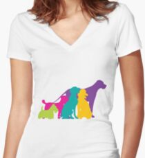 Dog Silhouettes Colour Women's Fitted V-Neck T-Shirt