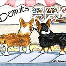 Corgis at the Donut Shop by offleashart