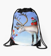 Reindeer Girl Drawstring Bag