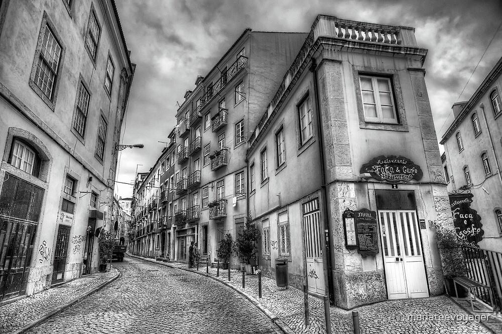 Backstreets Of Lisbon BW by manateevoyager