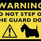 Humorous Scottish Terrier Guard Dog Warning by Jenn Inashvili