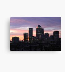 Canary Wharf at sunset Canvas Print