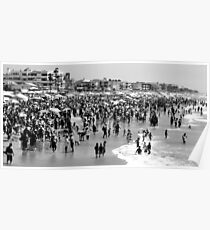 Summer Beach in Black & White Poster