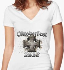 Oktoberfest Iron Cross 2013 Women's Fitted V-Neck T-Shirt