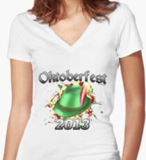 Oktoberfest German Hat 2013 Women's Fitted V-Neck T-Shirt