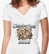 Oktoberfest Pretzel 2013 Women's Fitted V-Neck T-Shirt