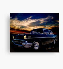 57 Belair Two-Door Sedan is Oh So Black Canvas Print
