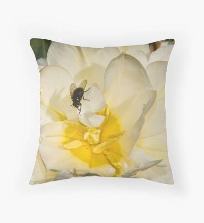 Macro flower and fly Throw Pillow