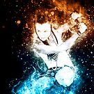 young punk teen girl wielding a flaming sword  by PhotoStock-Isra