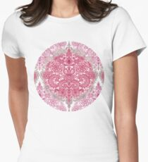 Happy Place Doodle in Berry Pink, Cream & Mauve Womens Fitted T-Shirt