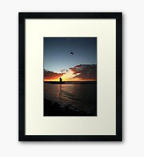 Currumbin Sunset With Jet Liner Framed Print