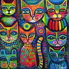 8 Colourful cats  by Karin Zeller