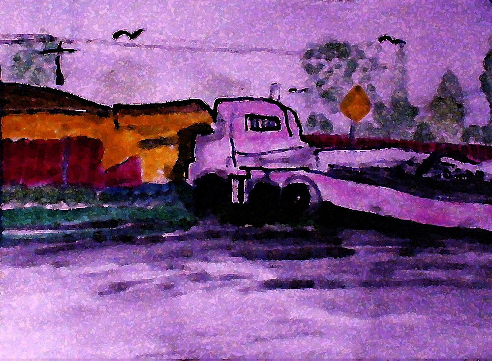 The run away truck of distruction, watercolor by Anna  Lewis, blind artist