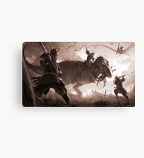 T. rex vs. Samurai Canvas Print