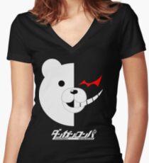 Dangan Ronpa- Monokuma shirt Tailliertes T-Shirt mit V-Ausschnitt